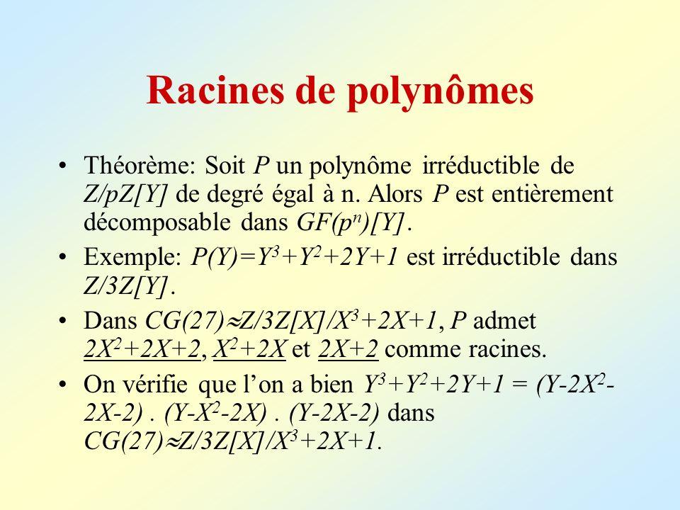 Racines de polynômes Théorème: Soit P un polynôme irréductible de Z/pZ[Y] de degré égal à n. Alors P est entièrement décomposable dans GF(pn)[Y].